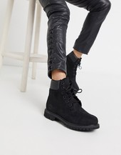 Timberland 6 Inch Premium Lace Up Flat Boots In Black