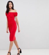 Asos Design Tall Ruffle Front Bodycon Midi Dress-red