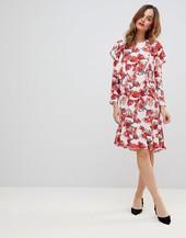 Y.a.s Graphic Floral Frill Midi Shift Dress-multi
