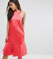 Y.a.s Studio Tall High Neck Midi Dress With Fluted Hem Detail-pink
