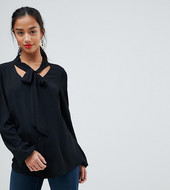 John Zack Petite Plunge Front Blouse With Neck Tie-black