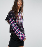 Asos Petite Check Smock Long Sleeve Top With Lace Detail-multi