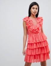 Y.a.s Ruffle Lace Up Mini Dress-white