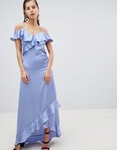 Y.a.s Satin Cold Shoulder Frill Maxi Dress-blue
