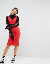 Stylenanda Midi Layer Pencil Dress-red