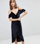 Stradivarius Wrap Velvet Midi Dress-black