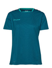 Hmlauthentic Poly Jersey Woman S/s T-shirts & Tops Short-sleeved Blå Hummel