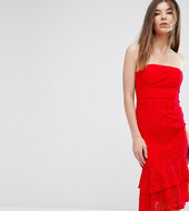 Love Triangle Bandeau Midi Dress With Double Frill-red