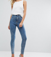 Asos Tall Rivington High Waist Denim Jeggings In Rumer Midwash Blue
