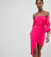 Asos Tall Bardot Midi Dress With Tiered Wrap Skirt-pink