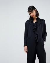 Asos White Frill Jumpsuit-black