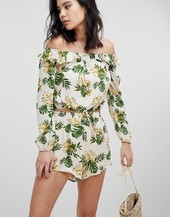 Honey Punch Long Sleeve Crop Top With Off Shoulder Ruffle Co-ord-multi