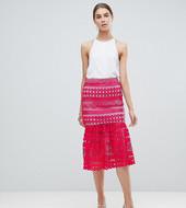 Asos Design Tall Premium Occasion Lace Pep Hem Midi Skirt Co-ord-pink