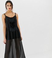 Bershka Sheer Embroidered Midi Dress-black