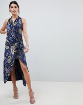 Lioness Wrap Front Cami Midi Dress In Summer Velvet Print-multi