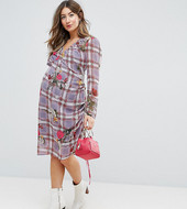 Asos Maternity Floral And Check Midi Dress With Tie Side Channelling Detail-multi