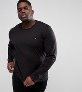Farah Farris Slim Fit Long Sleve T-shirt In Black Exclusive At Asos