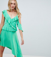 Asos Design Tall Asymmetric Ruffle Soft Midi Dress-green