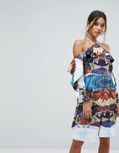 Aeryne Cold Shoulder Printed Midi Dress With Thigh Split-multi