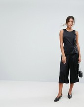 Aeryne Wide Leg Jumpsuit With Ring Detail-black
