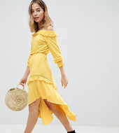 Asos Design Petite Off Shoulder Shirred Cuff Midi Tea Dress-yellow