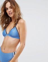 Rvca Throwback Triangle Bikini Top-blue