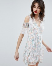Vero Moda Floral Print Mini Dress With Ruffle Cold Shoulder In White-multi