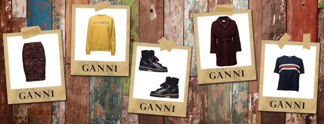rustic wooden background with cut out pictures showing ganni items