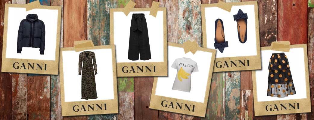 Rustic wooden background with cut out pictures showing different ganni items