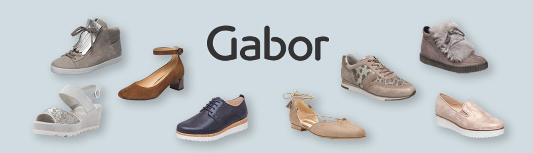 A collection of gabor shoes on blur background with logo